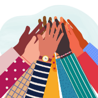 diverse hands coming together as group