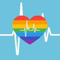 Rainbow heart with heartbeat line