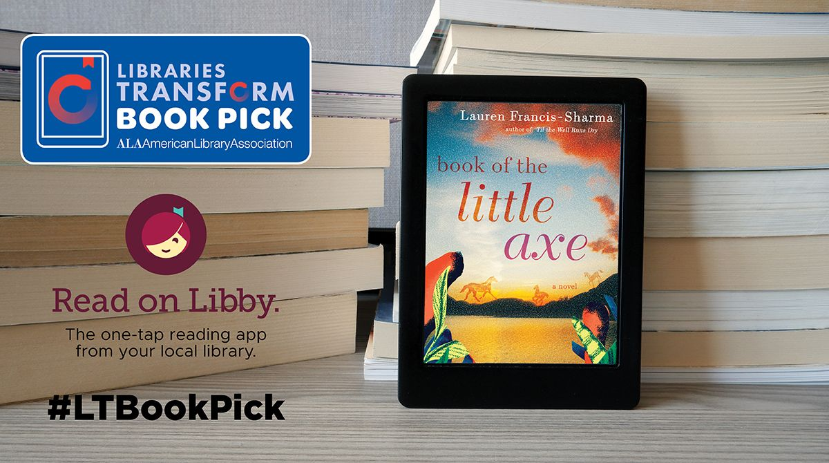 """Stacks of books with an e-reader with the cover from """"Book of the Little Axe"""""""